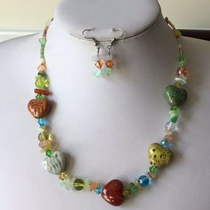 Multi color Herat shape ceramic bead necklace set